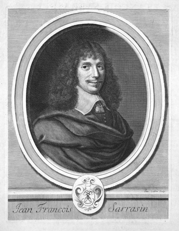 Jean Francois Sarrasind - Jean-François Sarrasin Schriftsteller writer écrivain Portrait Kupferstich engraving