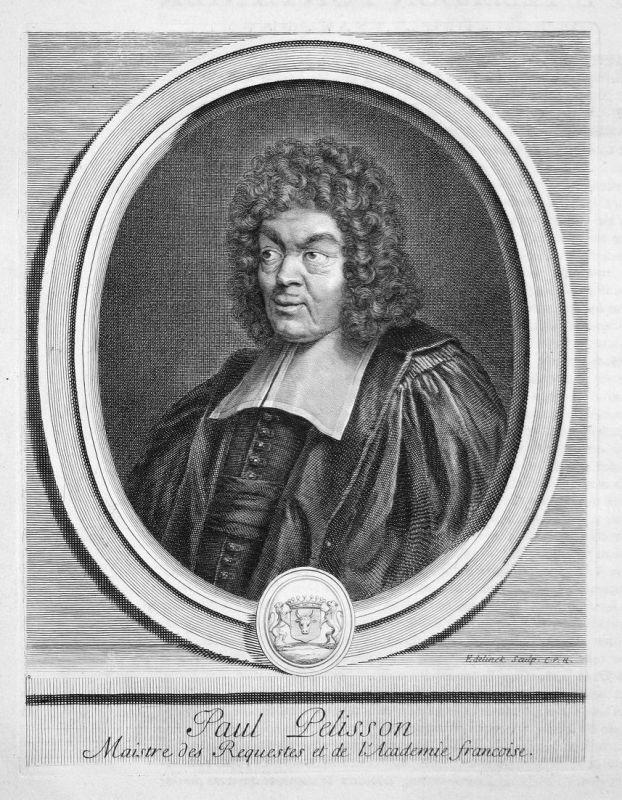 Paul Pelisson - Paul Pellisson Schriftsteller writer écrivain Portrait Kupferstich engraving