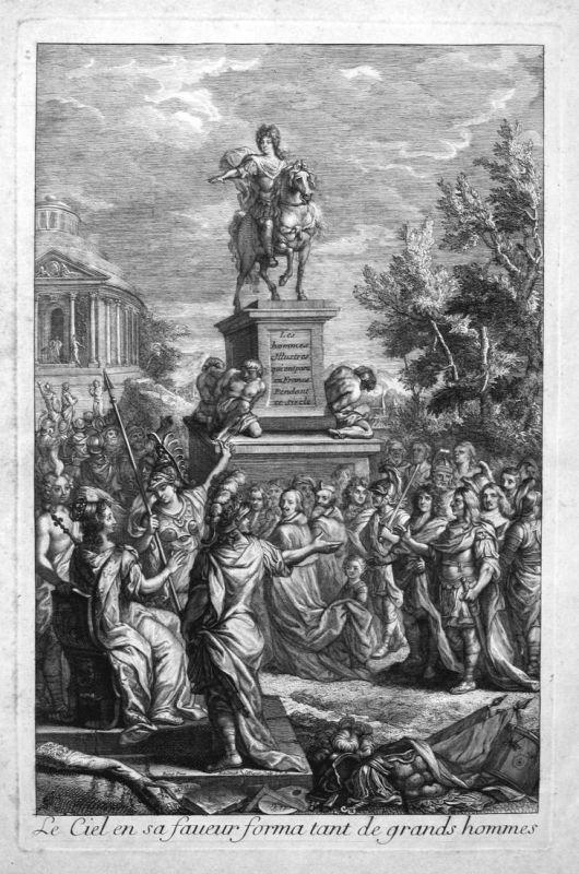 Le Ciel en sa faveur forma tant de grands hommes - Portraits Statue statue Richelieu Moliere Kupferstich engra