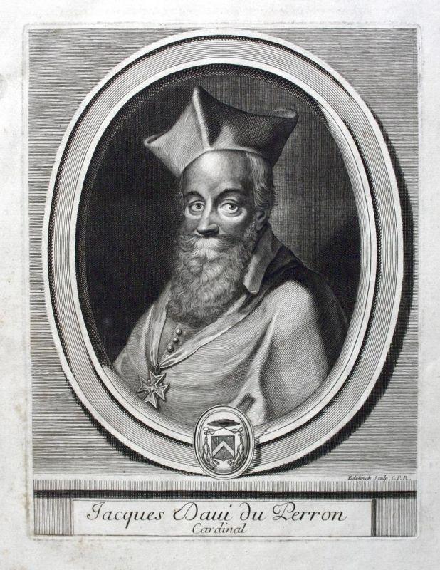 Jacques Daui Du Perron - Cardinal - Jacques Davy Du Perron Kardinal Cardinal Portrait Kupferstich engraving