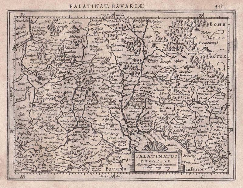Palatinatus Bavariae - Bavaria Bayern Oberpfalz Regensburg Nuremberg Nürnberg map Karte Gerard Mercator