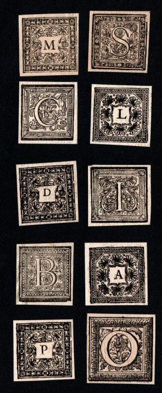 Konvolut von 10 Ornament Kupferstich-Buchstaben A, I, L, O, M, B, S, D, C, P ornament letters antique print gr