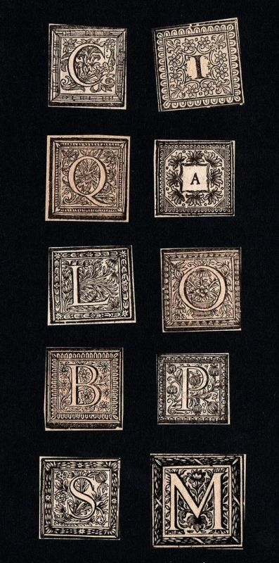 Konvolut von 10 Ornament Kupferstich-Buchstaben I, L, C, A, P, O, M, Q, B, S ornament letters antique print gr