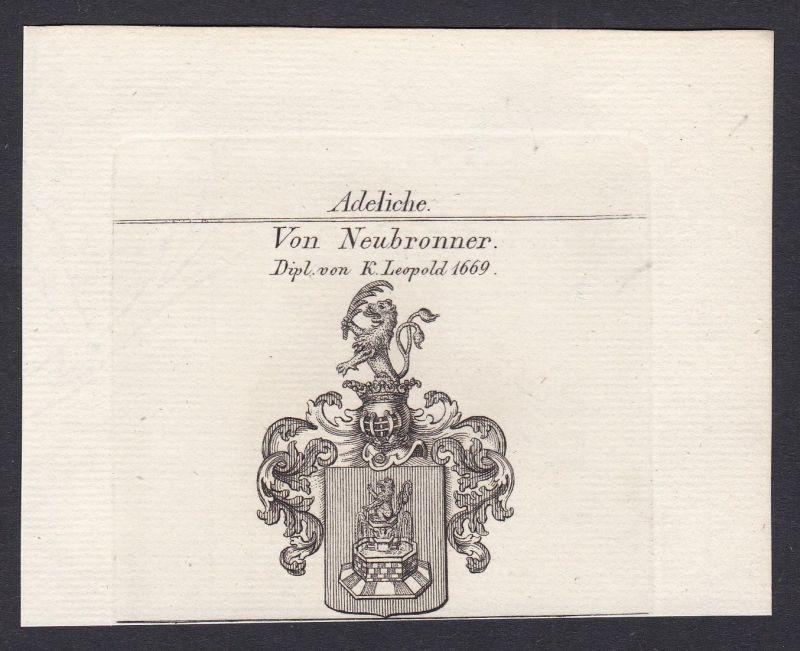 Von Neubronner. Dipl. von K. Leopold 1669 - Neubronner Diplom Wappen Adel coat of arms heraldry Heraldik Kupfe
