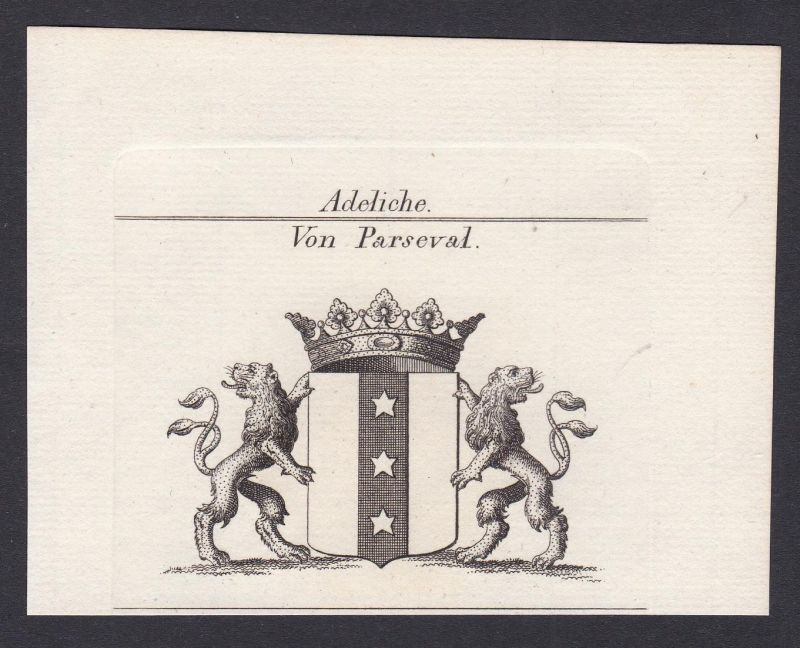 Von Parseval - Parseval Wappen Adel coat of arms heraldry Heraldik Kupferstich antique print