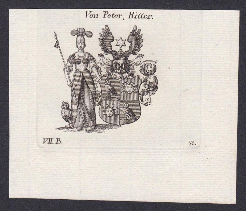 Von Peter, Ritter - Peter Ritter Wappen Adel coat of arms heraldry Heraldik Kupferstich antique print