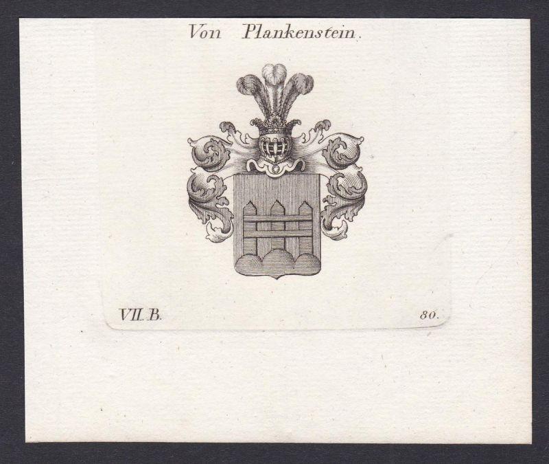 Von Plankenstein - Plankenstein Wappen Adel coat of arms heraldry Heraldik Kupferstich antique print