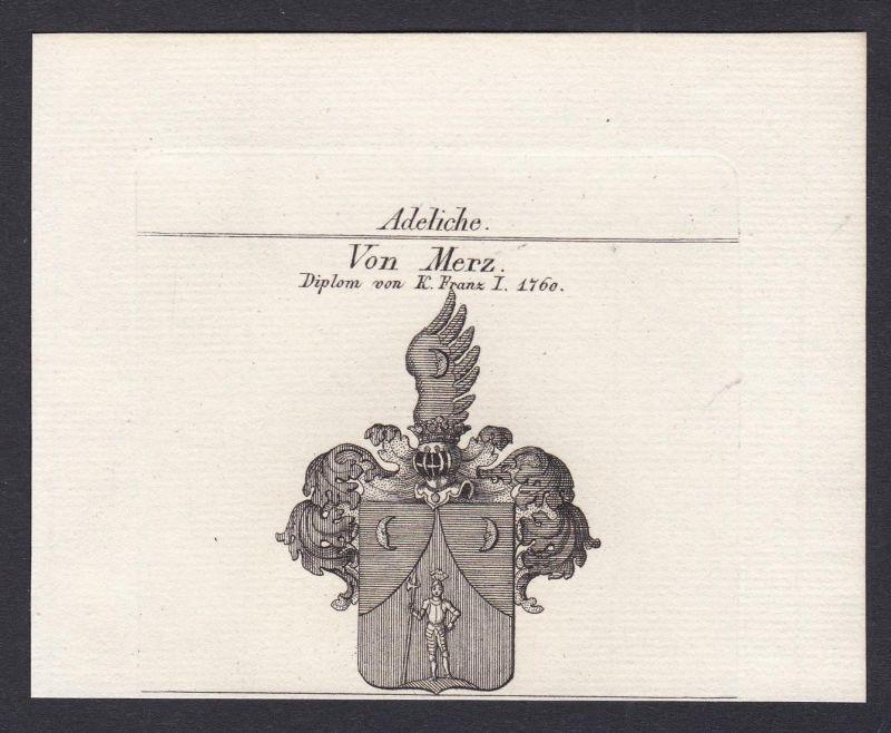 Von Merz. Diplom von K. Franz I. 1760 - Merz Mertz Merzen Wappen Adel coat of arms heraldry Heraldik Kupfersti
