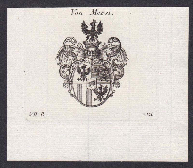 Von Mersi - Mersi Wappen Adel coat of arms heraldry Heraldik Kupferstich antique print