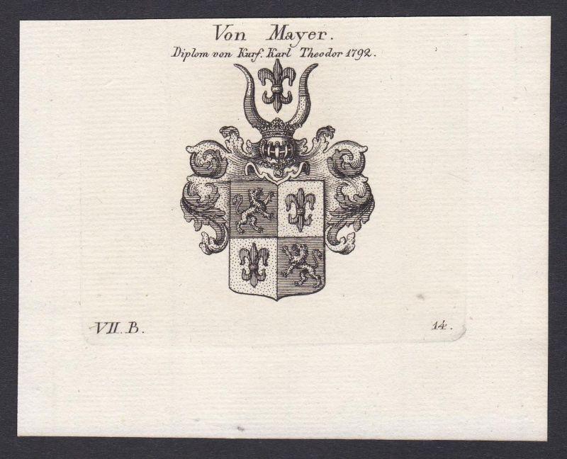 Von Mayer. Diplom von Kurf. Karl Theodor 1792 - Mayer Maier Mayr Wappen Adel coat of arms heraldry Heraldik Ku