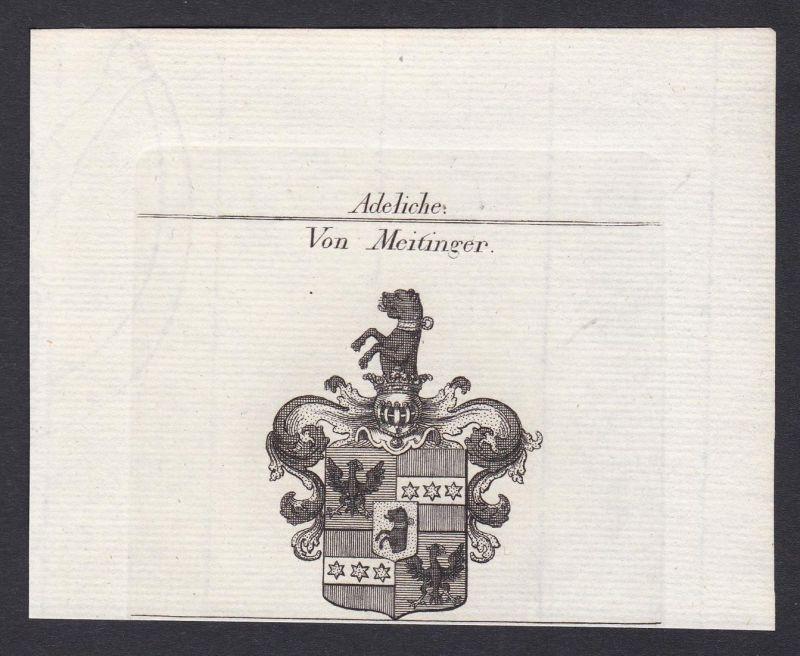 Von Meitinger - Meitinger Wappen Adel coat of arms heraldry Heraldik Kupferstich antique print