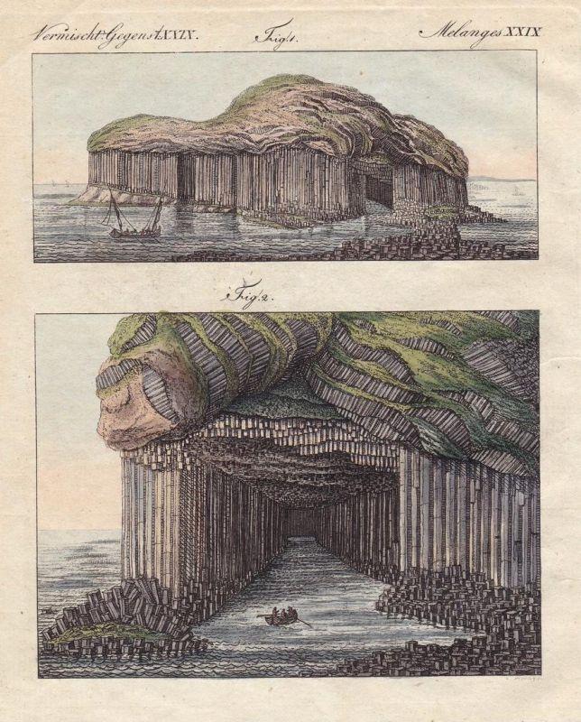 Vermischt. Gegenst. XXIX - Staffa Schottland Scotland Fingal's Cave Höhle Höhlen caves Insel island Bertuch Ku