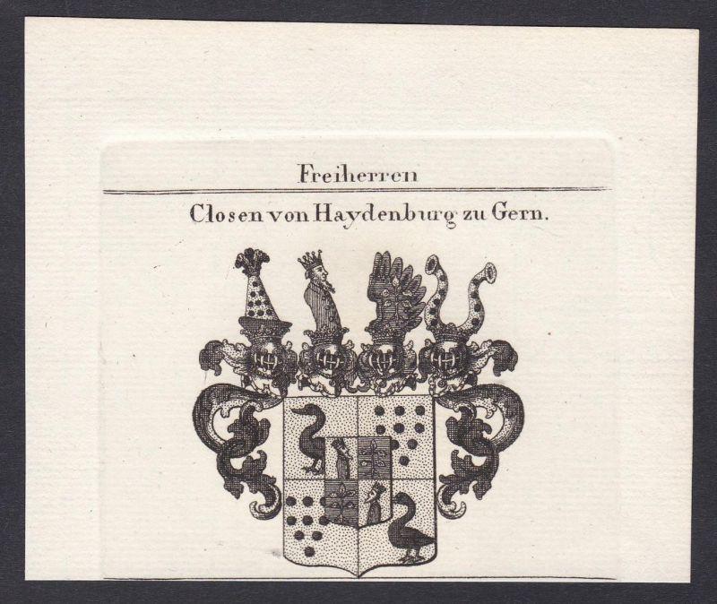 Freiherren Closen von Haydenburg zu Gern - Closen Bayern Rheinland Wappen Adel coat of arms heraldry Heraldik