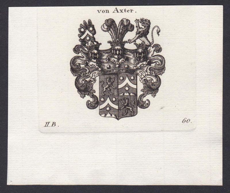 von Axter - Axter Wappen Adel coat of arms heraldry Heraldik Kupferstich antique print