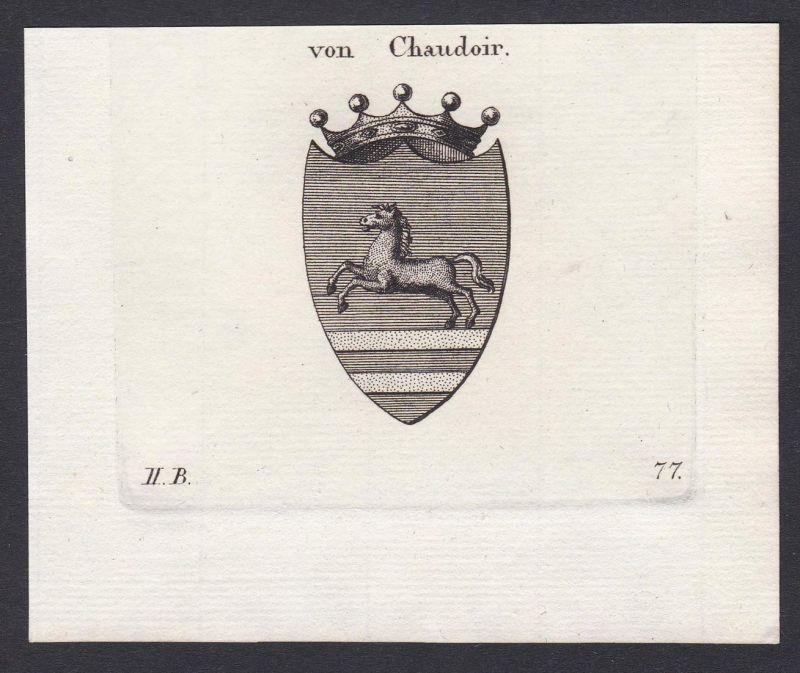 von Chaudoir - Chaudoir Wappen Adel coat of arms heraldry Heraldik Kupferstich antique print