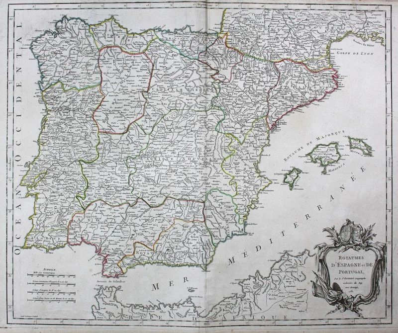 Royaumes d'Espagne et de Portugal - Portugal República Portuguesa Spanien Espana Spain Karte map Kupferstich a