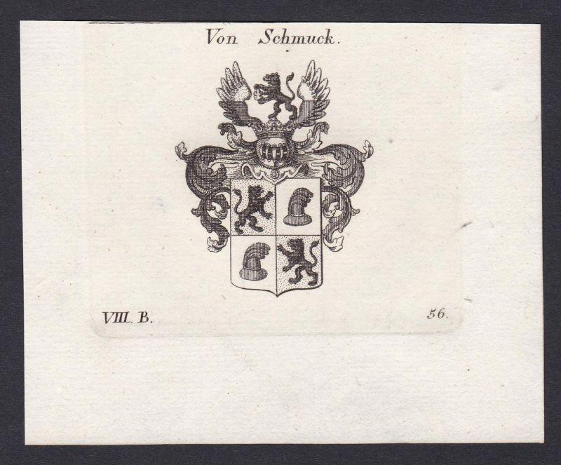 Von Schmuck - Schmuck Wappen Adel coat of arms heraldry Heraldik Kupferstich antique print