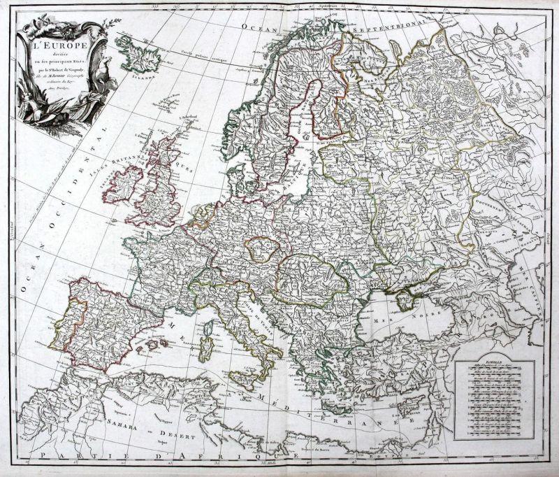 L'Europe divisee en ses principaux Etats - Europe Europa Frankreich France Italien Italia Italy Spanien Spain