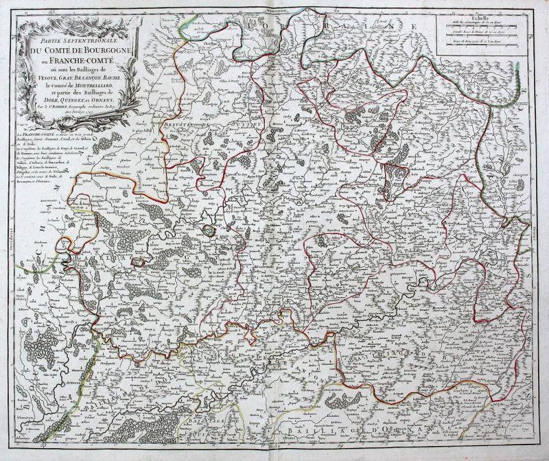 Partie Septentrionale du Comte de Bourgogne ou Franche-Comtè, où sont les Bailliages de Vesoul, Gray, Besancon