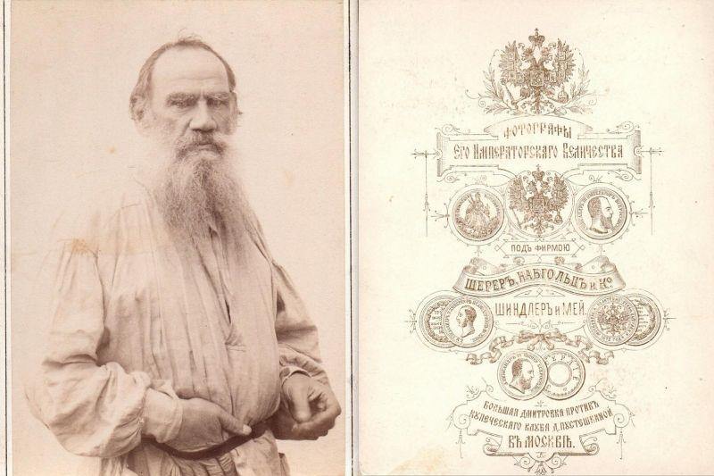 Leo Tolstoy (1828-1910) - Lew Nikolajewitsch Tolstoi Schriftsteller writer ecrivain Portrait Kabinett-Foto cab