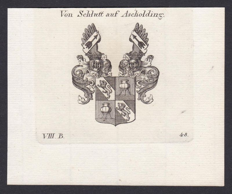 Von Schlutt auf Ascholding - Schlutt Ascholding Bayern Wappen Adel coat of arms heraldry Heraldik Kupferstich