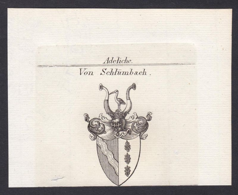 Von Schlümbach - Friedrich von Schlümbach Württemberg Wappen Adel coat of arms heraldry Heraldik Kupferstich a