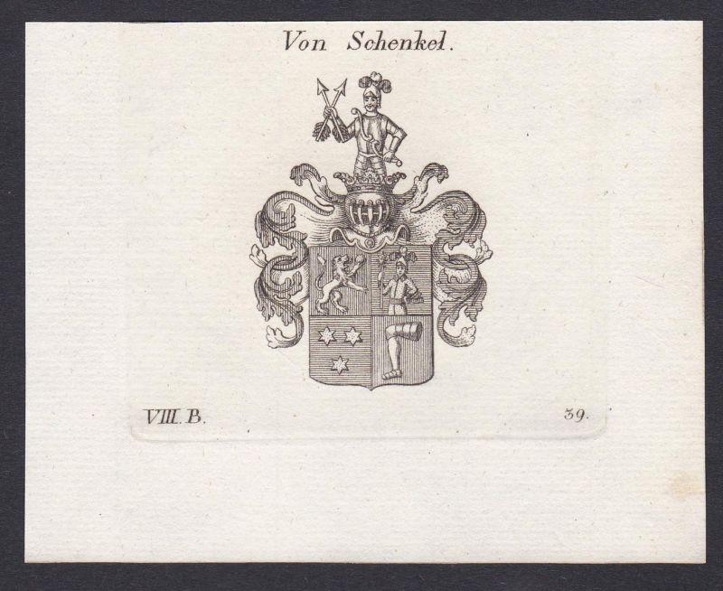 Von Schenkel - Schenkel Wappen Adel coat of arms heraldry Heraldik Kupferstich antique print