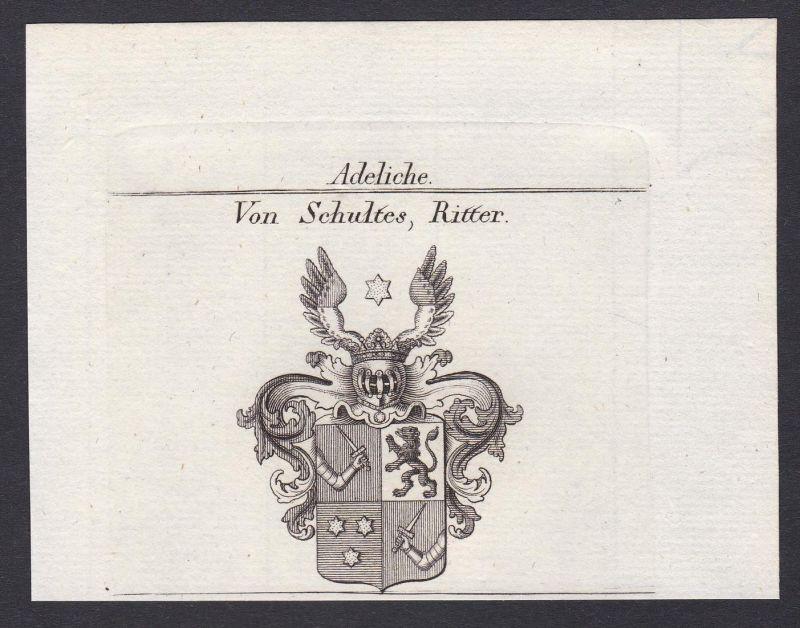 Von Schultes, Ritter - Schultheiß Schultes Wappen Adel coat of arms heraldry Heraldik Kupferstich antique prin
