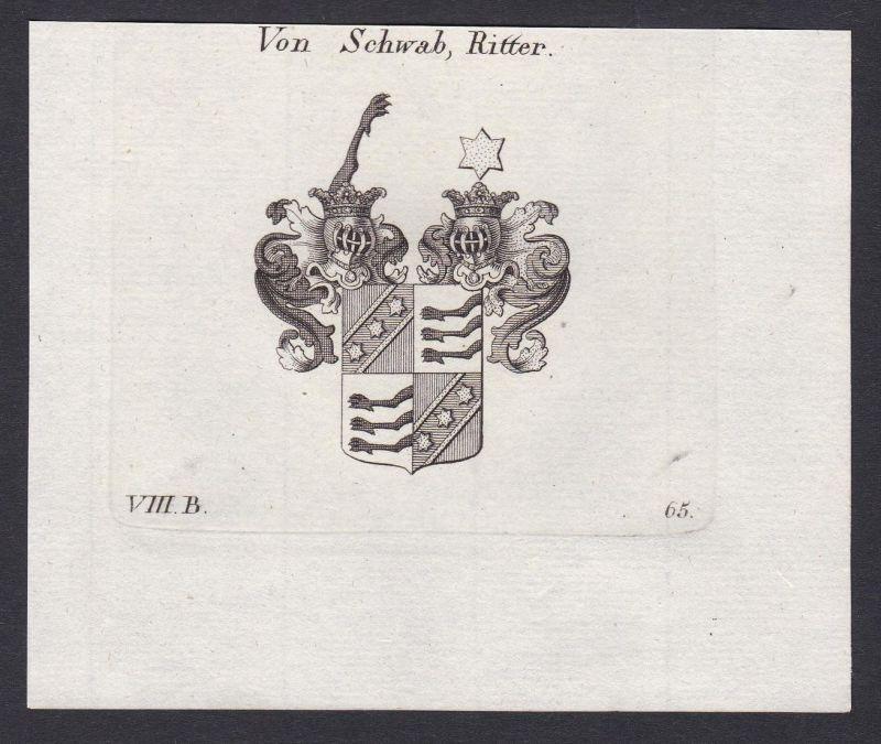 Von Schwab, Ritter - Schwab Bayern Bavaria Wappen Adel coat of arms heraldry Heraldik Kupferstich antique prin