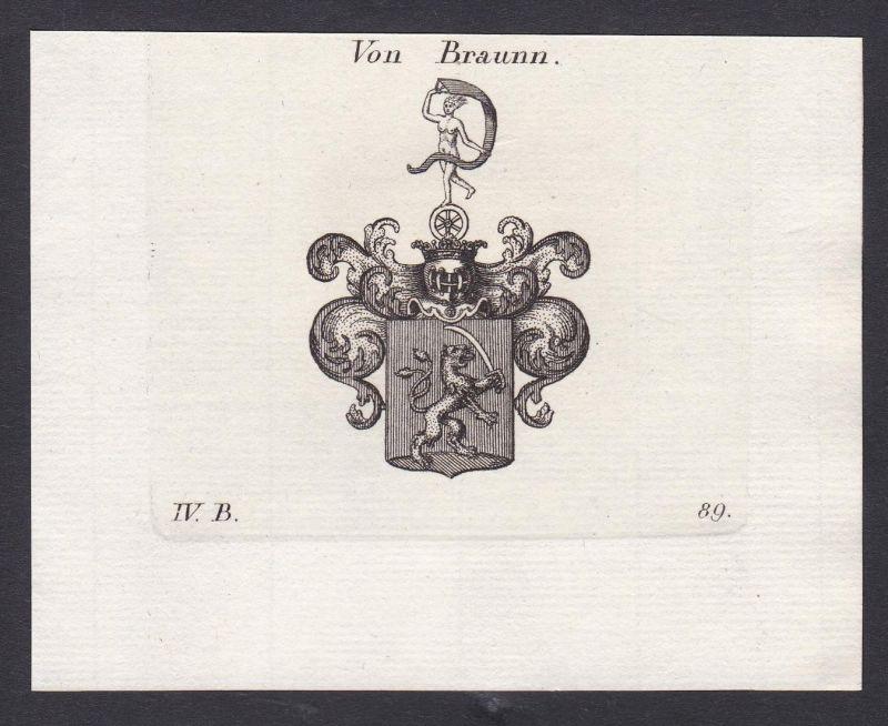Von Braunn - Braun Braunn Wappen Adel coat of arms heraldry Heraldik Kupferstich antique print