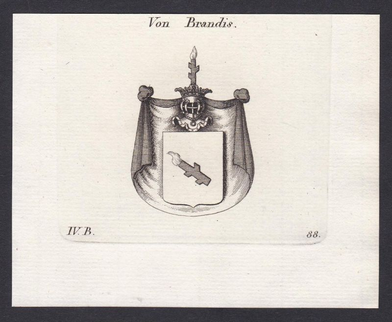 Von Brandis - Brandis Schweiz Svizzera Wappen Adel coat of arms heraldry Heraldik Kupferstich antique print
