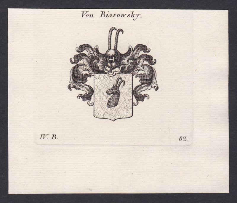 Von Biarowsky - Biarowsky Wappen Adel coat of arms heraldry Heraldik Kupferstich antique print