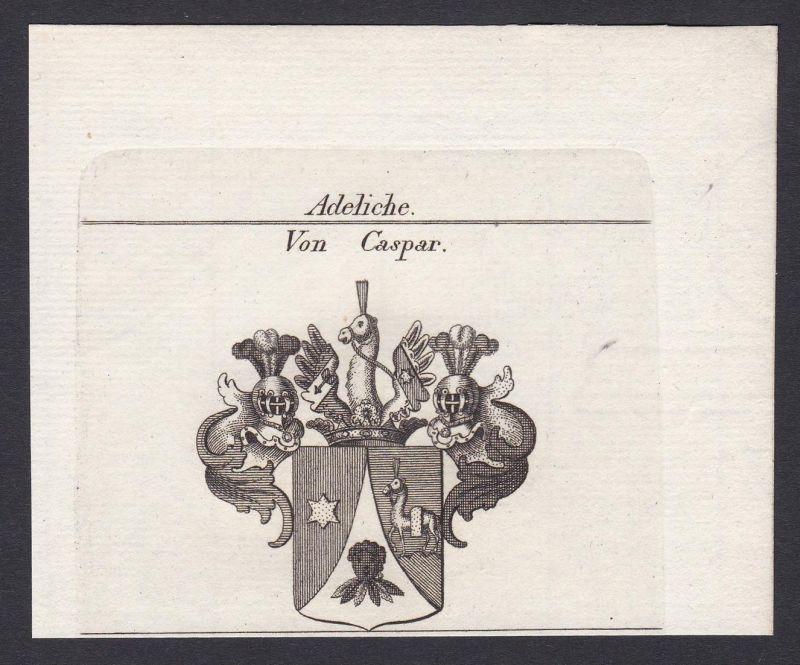 Von Caspar - Caspar Wappen Adel coat of arms heraldry Heraldik Kupferstich antique print