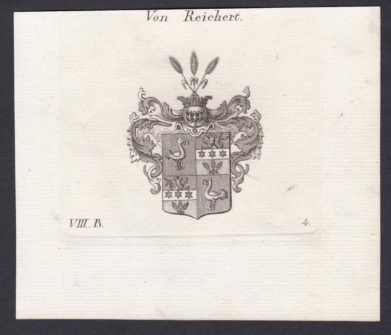 Von Reichert - Reichert Wappen Adel coat of arms heraldry Heraldik Kupferstich antique print