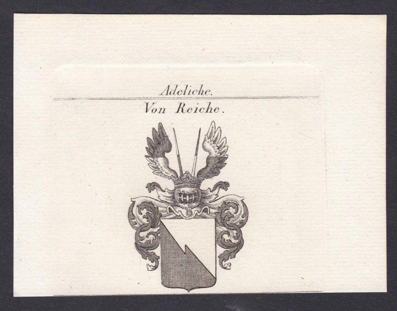 Von Reiche - Reiche Wappen Adel coat of arms heraldry Heraldik Kupferstich antique print