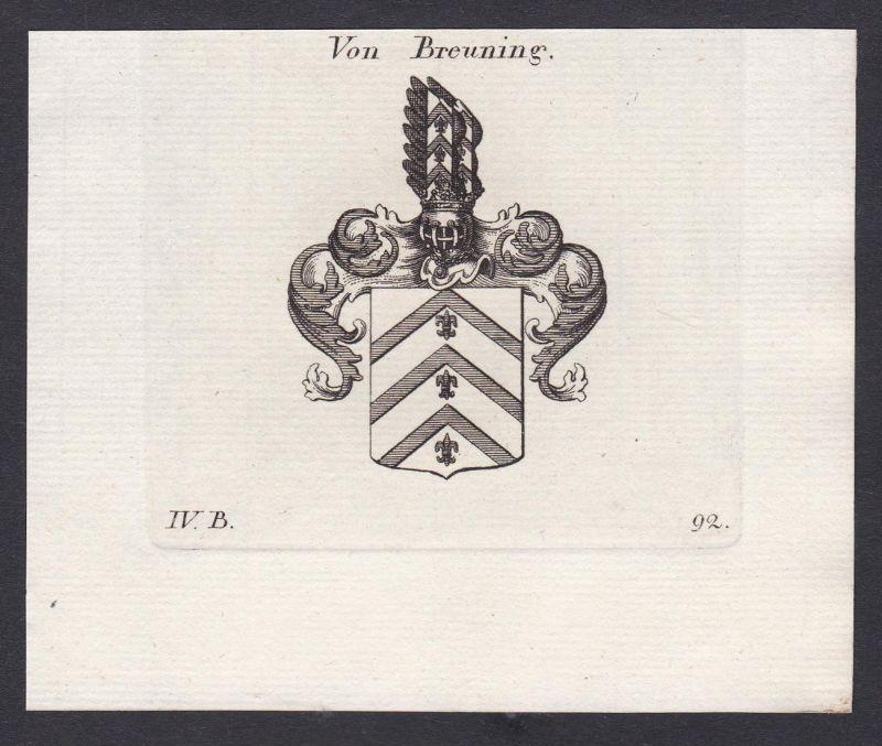 Von Breuning - Breuning Wappen Adel coat of arms heraldry Heraldik Kupferstich antique print