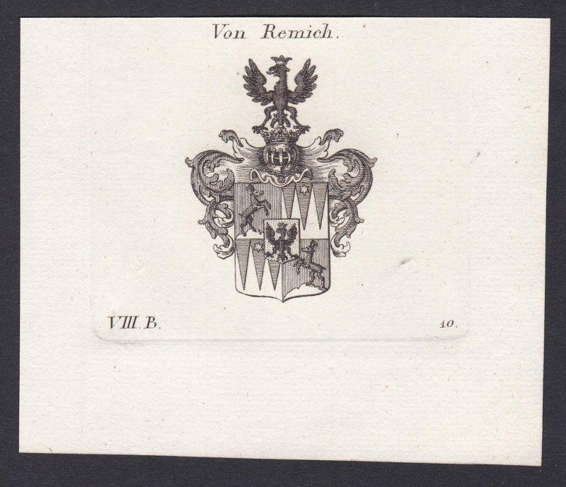 Von Remich - Remich Wappen Adel coat of arms heraldry Heraldik Kupferstich antique print