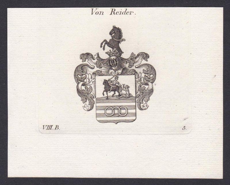 Von Reider - Reider Wappen Adel coat of arms heraldry Heraldik Kupferstich antique print