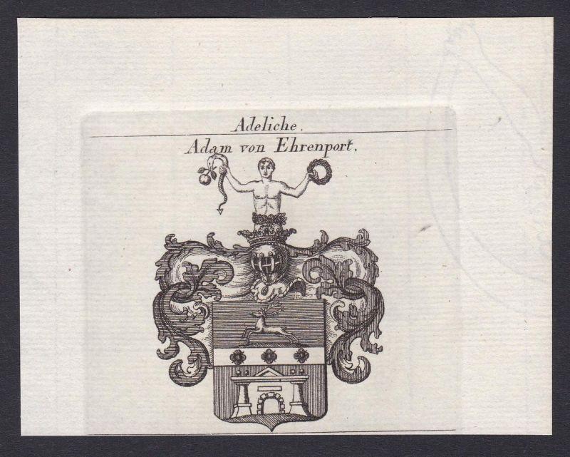 Adam von Ehrenport - Adam Ehrenport Wappen Adel coat of arms heraldry Heraldik Kupferstich antique print