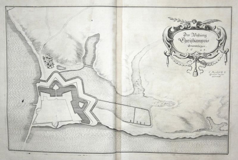 Der Vestung Christianpris Grundtläger - Festung Friedrichsort Kiel Karte map Plan Kupferstich antique print