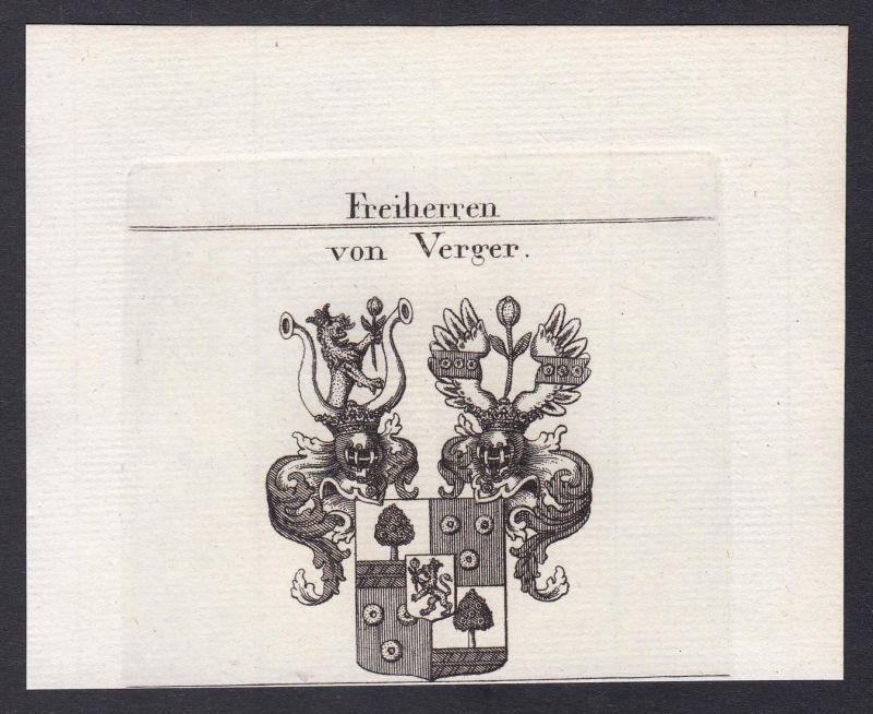 Freiherren von Verger - Verger Slowenien Slovenia Wappen Adel coat of arms heraldry Heraldik Kupferstich antiq