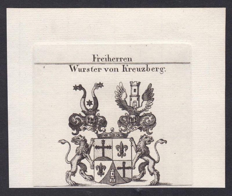 Freiherren Wurster von Kreuzberg - Wurster Kreuzberg Wappen Adel coat of arms heraldry Heraldik Kupferstich an