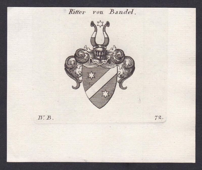 Ritter von Bandel - Bandel Wappen Adel coat of arms heraldry Heraldik Kupferstich antique print