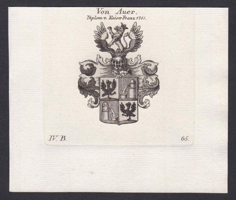Von Auer. Diplom v. Kaiser Franz 1761 - Auer Kaiser Franz Wappen Adel coat of arms heraldry Heraldik Kupfersti