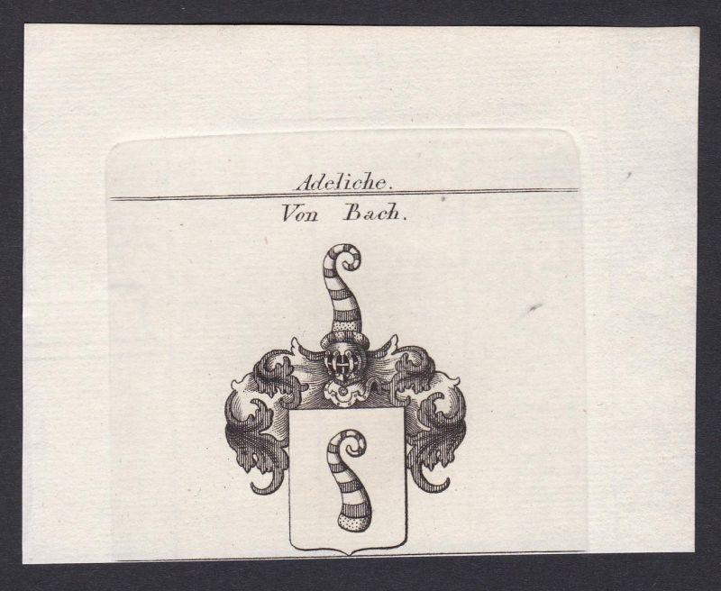 Von Bach - Bach Bühl Baden Wappen Adel coat of arms heraldry Heraldik Kupferstich antique print