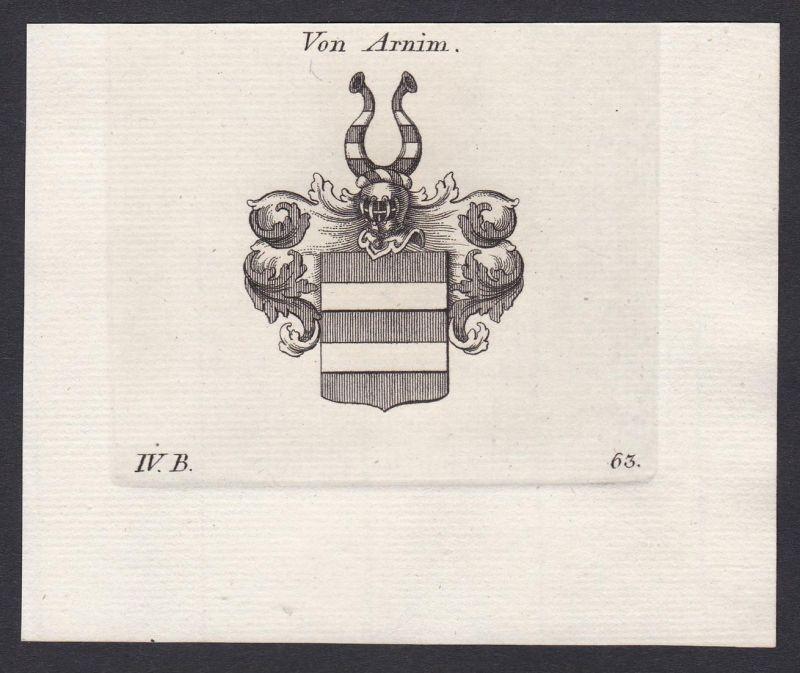 Von Arnim - Arnim Mark Brandenburg Wappen Adel coat of arms heraldry Heraldik Kupferstich antique print