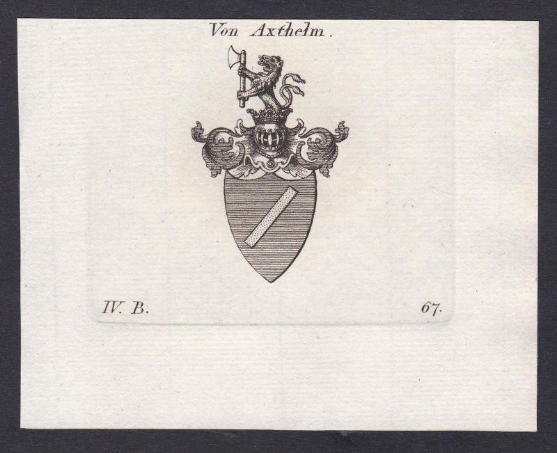 Von Axthelm - Axthelm Wappen Adel coat of arms heraldry Heraldik Kupferstich antique print