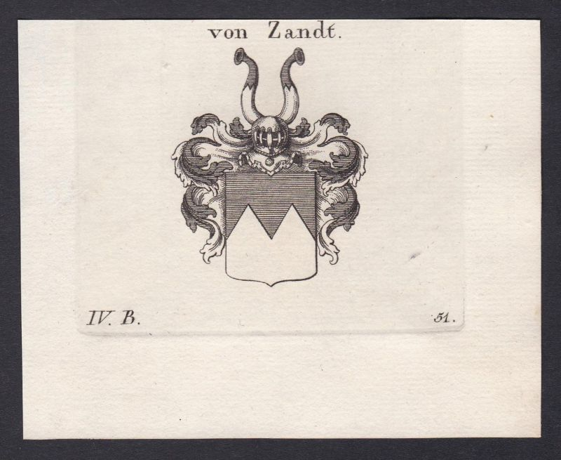 Von Zandt - Zandt Wappen Adel coat of arms heraldry Heraldik Kupferstich antique print