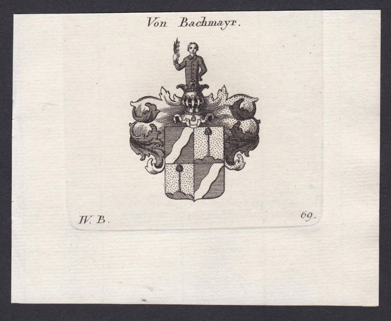 Von Bachmayr - Bachmayr Bachmayer Wappen Adel coat of arms heraldry Heraldik Kupferstich antique print