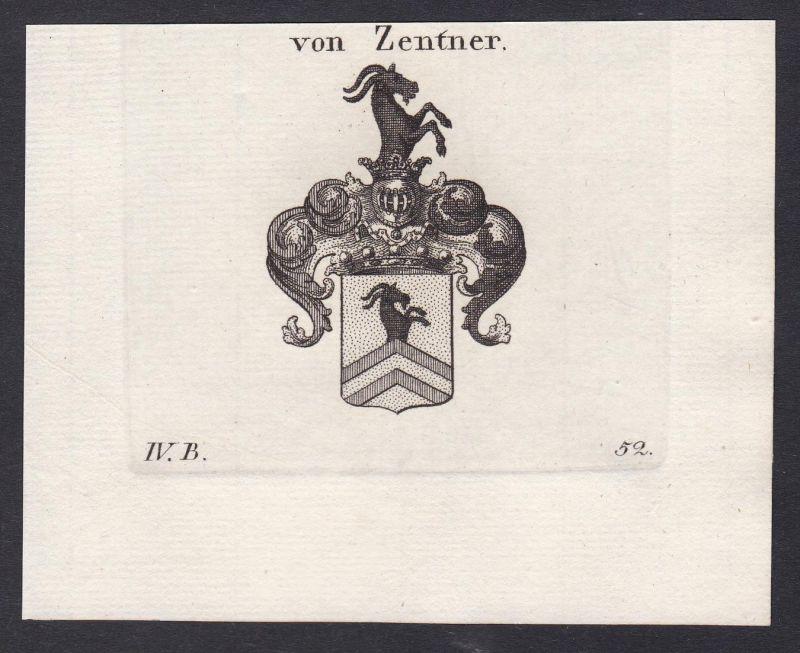 Von Zentner - Zentner Wappen Adel coat of arms heraldry Heraldik Kupferstich antique print